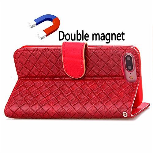 Voguecase® Pour Apple iPhone 7 Plus Coque, Étui en cuir synthétique chic avec fonction support pratique pour Apple iPhone 7 Plus (motif de contexture-Rouge)de Gratuit stylet l'écran aléatoire universe