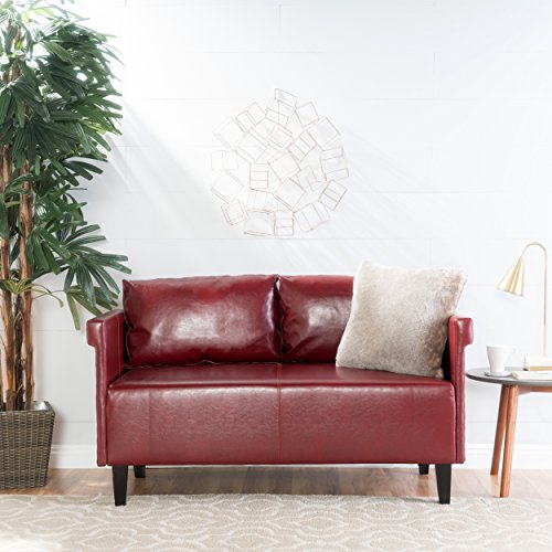 Christopher Knight Home Harbison Red Leather Settee (Leather Settee Red)