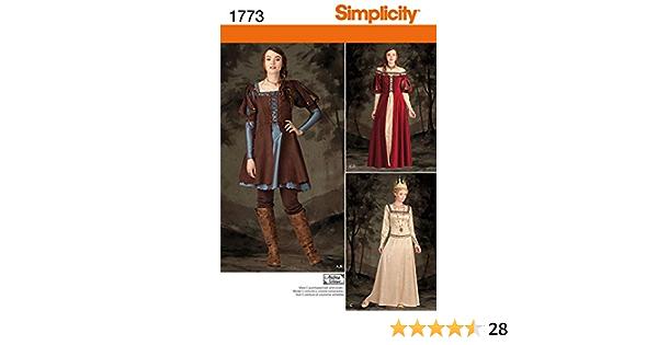 Patrones de corte B 4827 medieval señora vestido con enagua