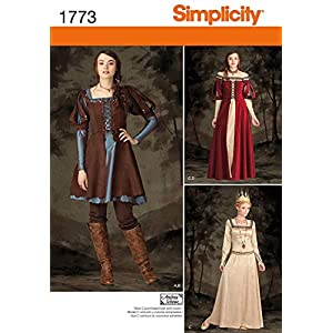 Simplicity 1773 Women's Medieval Dress Ren Faire Costume Sewing Pattern, Sizes 6-14 51c2 rjBu 2BL