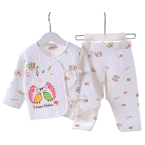 Hedgehog Outfits (OUCHI Baby Newborn Hedgehogs Print Belted Shirt and Pants 2PCs Underwear Set Pink)