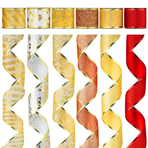 Alonsoo Wired Christmas Ribbon Fabric Crafts Gift Wrapping Ribbons Assorted Organza Swirl Sheer DIY Floral Christmas Design Decorations, 36 Yards (6 Roll x 6 yd) by 2.5 inch, Red/Gold ()