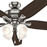 Hunter Fan 60″ Brushed Nickel Ceiling Fan with Four-Light Fitter and Cased White Shades, 5 Blade (Certified Refurbished)
