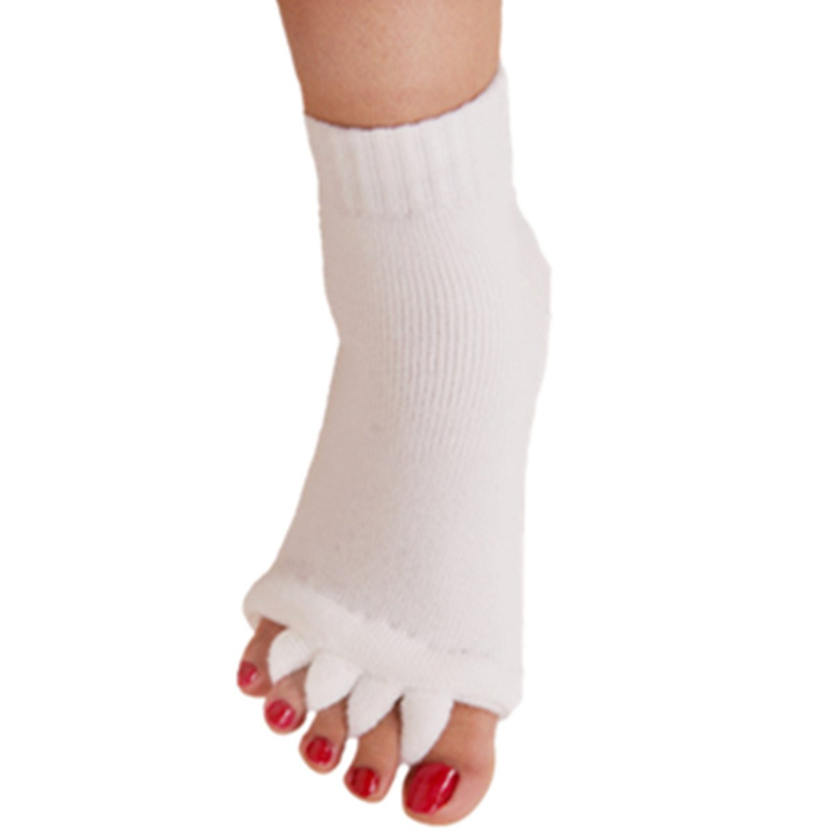 1 Pair Yoga GYM Massage Five Toe Separator Socks Foot Alignment Pain Relief Hot (One Size, A-White)