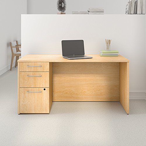 Bush Business Furniture 300 Series 60W x 30D Natural Maple Office Desk with 3 Drawer Pedestal