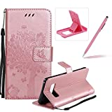 Strap Leather Case for Samsung Galaxy Note 8,Bookstyle Magnetic [Rose Gold Solid Color] Stand Flip Case for Samsung Galaxy Note 8,Herzzer Premium Elegant Butterfly Tree Cat Print Fold Wallet Folio Smart Case For Samsung Galaxy Note 8 + 1 x Pink Cellphone Kickstand + 1 x Pink Stylus Pen