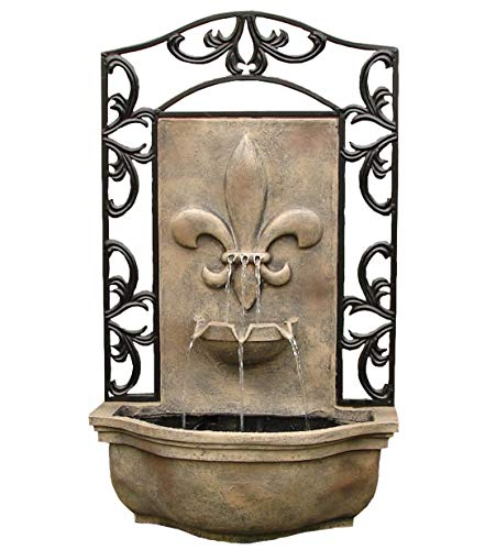 The Bordeaux - Outdoor Wall Fountain - Florentine Stone - Water Feature for Garden, Patio and Landscape Enhancement Cast Stone Outdoor Water Fountain