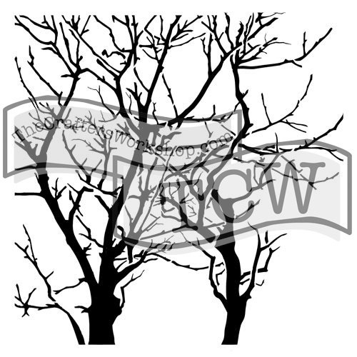 Bundle 2 Items The Crafters Workshop Set of 2 Stencils Branches Reversed 12 x 12 Large and 6 x 6 Mini Includes 1 each TCW251 and TCW251s