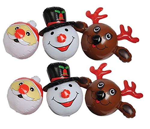 Inflate Snowman - Adorable Set of 6 Festive Christmas/Holiday Inflatables ~ SIX (6) Holiday Face Inflates ~ Holiday Decor Favors Fun Giveaways