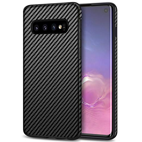 Fiber Galaxy Carbon - Tasikar Galaxy S10 Case with Carbon Fiber Leather and Soft TPU Design Easy Grip Slim Case Compatible with Samsung Galaxy S10 (Black)