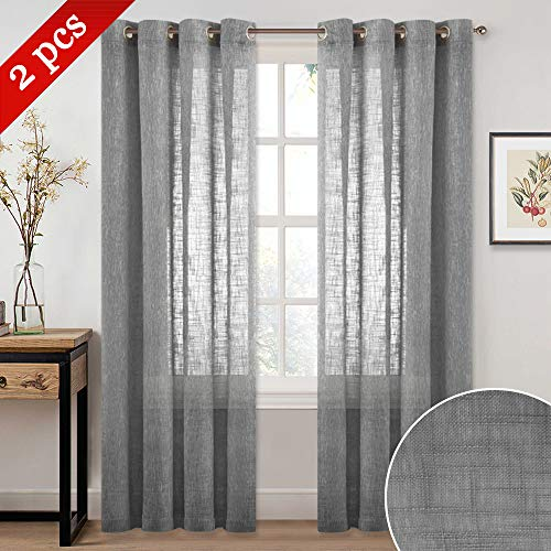 (NICETOWN Home Decorative Privacy Sheer - Semi Voile Window Treatment Natural Linen Look Curtains Panels Drapes with Ring Top for Bedroom/Living Room/Bathroom (Dark Grey, 52