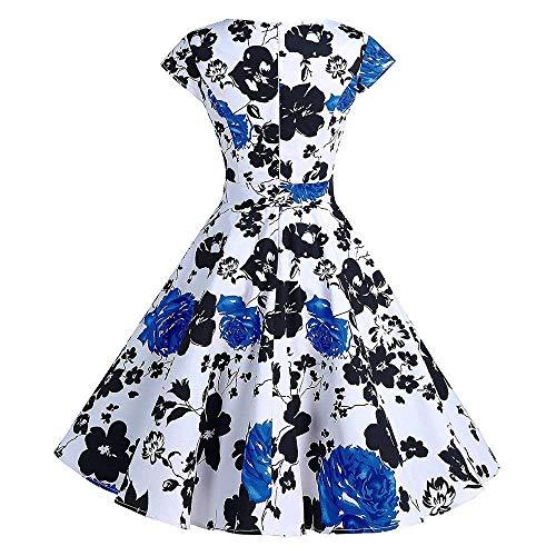 Moda Blu V Swing Abito Casual Da Small Cocktail Elegante A Dimensione Bianca Dress Scollo Sera Stampa Maniche Abiti Senza Serale Donna Prom Vintage colore wzTxgOOq4