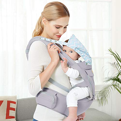Baby Wrap Carrier with Hip Seat, Windproof Cap, Bite Towel as Well as 6 and 1 Convertible Backpack, Cotton Sling for Infants, Babies and Toddlers – Grey
