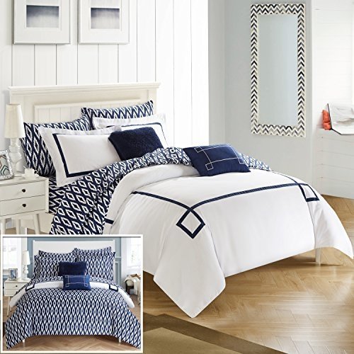 Greek Key Pattern - Chic Home CS2935-AN 9 Piece Reversible Comforter Bed in a Bag Greek Key Embroidered Pattern Modern Watercolor Technique Print Bedding, Navy, King