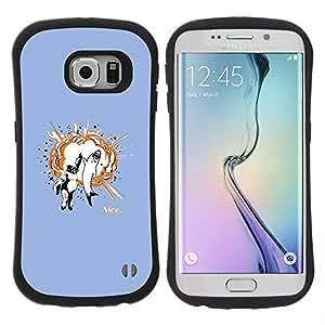 "Pulsar iFace Series Tpu silicona Carcasa Funda Case para Samsung Galaxy S6 EDGE / SM-G925(NOT FOR S6!!!) , Tiburón Gorila Animales Amistad Cita Arte"""