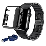 AutumnFall® Stainless Steel Replacement Smart Watch Band Link Bracelet+Adapter+Case Cover for Apple Watch iWatch 42mm (Black)