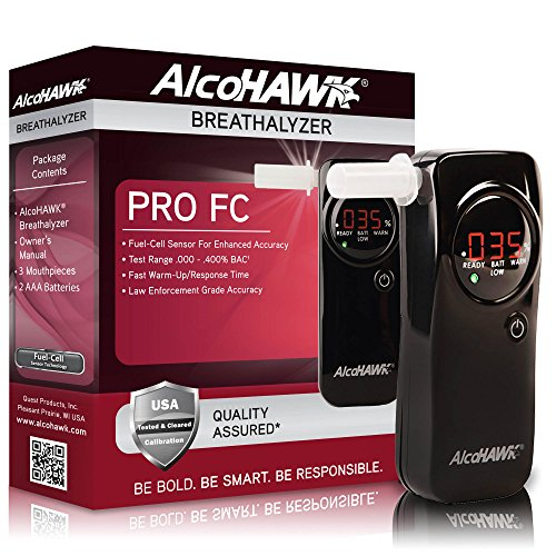 AlcoHAWK Pro FC Fuel-Cell Breathalyzer, Digital Breath Alcohol (Alcohawk Pro Digital Breath Alcohol Detector)