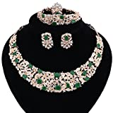 Women Bridal Fine Crystal African Beads Jewelry Sets For Wedding Party Dinner Dress Necklace Earring Bangle Ring Kit Gift (Green)