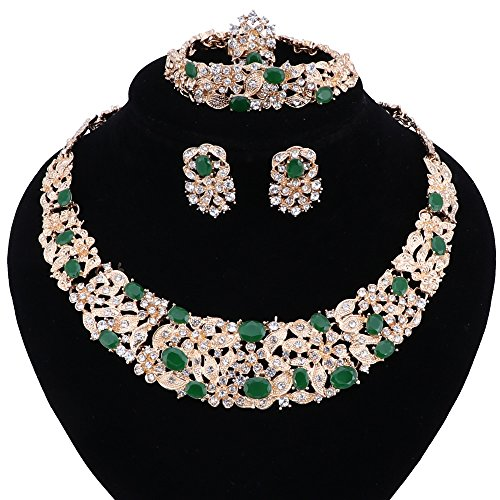 Women Bridal Fine Crystal African Beads Jewelry Sets For Wedding Party Dinner Dress Necklace Earring Bangle Ring Kit Gift (Green) -