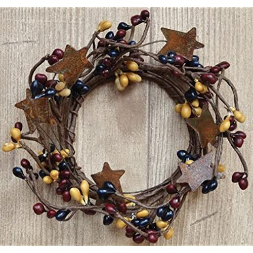 colonial mix pip candle ring mini wreath w rusty stars navy burgundy mustard berries country primitive dcor - Primitive Country Christmas Decorations
