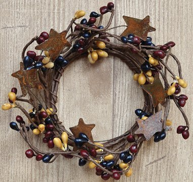 dle Ring Mini Wreath W/ Rusty Stars Navy Burgundy Mustard Berries Country Primitive Décor (Country Primitive Candles)