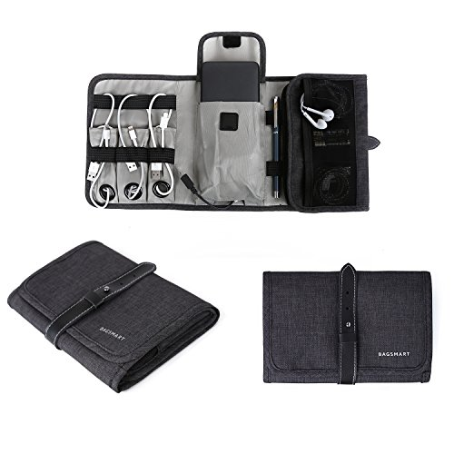 BAGSMART Compact Travel Cable Organizer Portable Electronics Accessories Bag Hard Drive Case for Various USB, Phone, Charger, Black