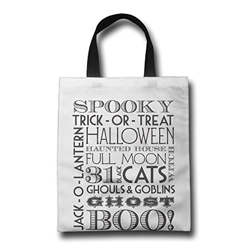 Halloween Reusable Shopping Bags Large Size Premium Quality Tote Bag Recycle Bag Foldable Eco Shopping Bag HW 16.93 Inch 14.17 Inch White