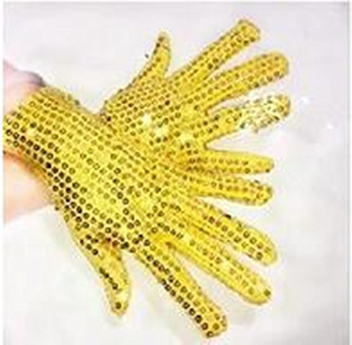 Michael Jackson 70s Costume (Child/Adult Sequined Glove Halloween Costume Glitter Kids Glove Show Perform (Child-size, Gold))