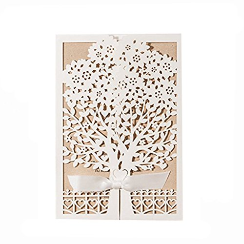 Newest White Laser Cut Flowers Tree Silk Tie Wedding Invitations Cards (20PCS) -