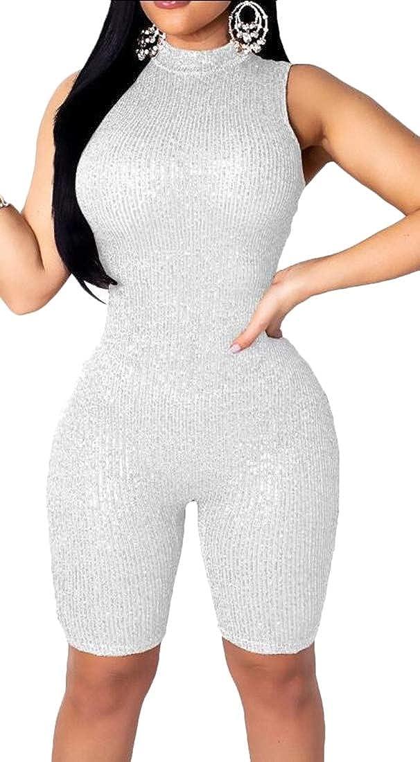 Womens Sparkle Sequin Halter Sleeveless Short Club Jumpsuit