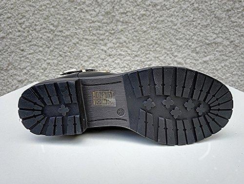 Calzado para mujer botines rellenos boots fur peletería talón SM183A cuadrado, color negro