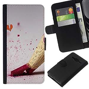 JackGot ( Diseño Lápiz de color ) Samsung Galaxy Core Prime la tarjeta de Crédito Slots PU Funda de cuero Monedero caso cubierta de piel