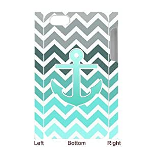 LZHCASE Diy 3D Protection Hard Case Blue Chevron Anchor For Iphone 5C [Pattern-1]
