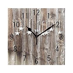 GULTMEE Square Wall Clock Home Decorative Clocks,Primitive Country, Grey Colored Ornate Stars on Wooden Rustic Fence Cabin Design Print,Grey Brown,7.8×7.8