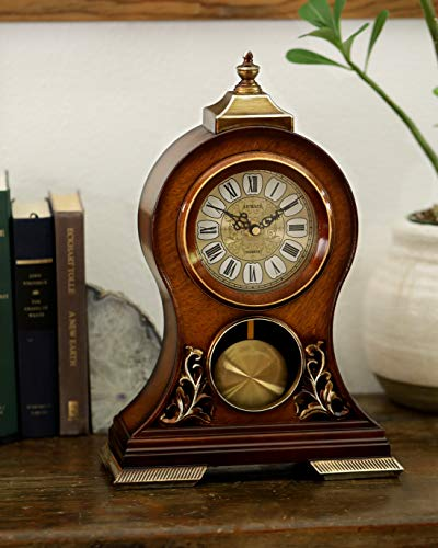 (Le'raze Elegant, Decorative,Grandfather Clock Hand Painted Wood Modern Mantel with Swinging Pendulum Shelf,Tabletop,Desk,Buffet, Color Mahogany )