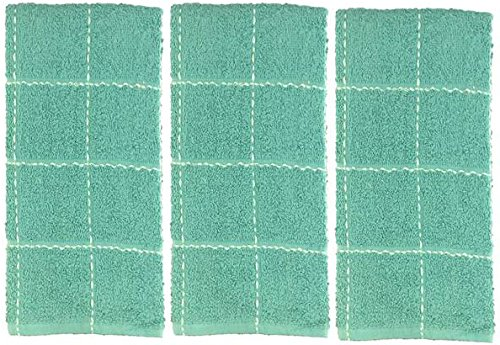 Set of 3, 100% Cotton, Ultra Absorbent, Heavy Duty, Everyday Kitchen Towel for Maximum Softness and Absorbency, Size: 16'' x 27''. (3, Teal Blue)