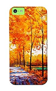 Slim Fit Tpu Protector Shock Absorbent Bumper Autumn Forest Oil Painting Case For Iphone 5c
