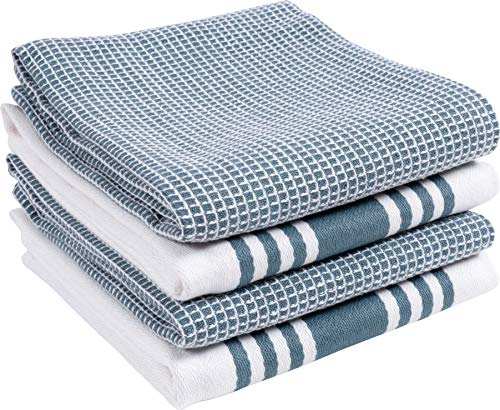 KAF Home Kitchen Towels, Set of 4 Absorbent, Durable and Soft Towels | Perfect for Kitchen Messes and Drying Dishes, 18 x 28 - Inches, Blue