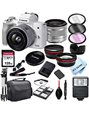 $799 » Canon EOS M50 Mark II (White) Mirrorless Digital Camera with 15-45mm Zoom Lens Lens + 128GB Card, Tripod, Case, and More (24pc Bundle)