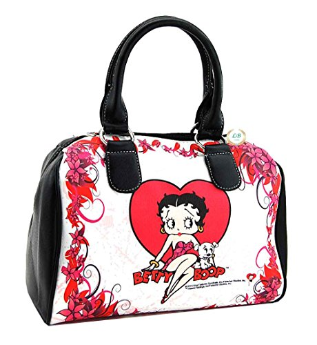 Betty Boop Satchel Purse, Heart with Flowers, Plus Keychain (Betty Boop Top Zip)