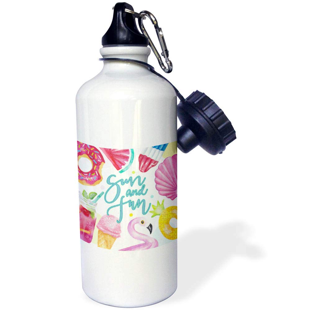 3dRose Uta Naumann Sayings and Typography - Summer Pink Food Icecream Aloha Illustration Typography - Sun And Fun - 21 oz Sports Water Bottle (wb_290120_1)