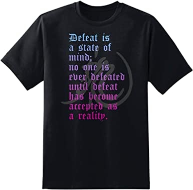 Bruce Lee Defeat Is A State Of Mind Adult T Shirt Martial Arts