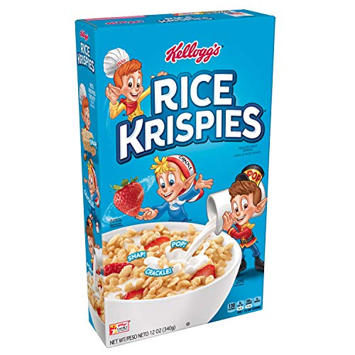 (Rice Krispies Kellogg's Fat-Free Breakfast Cereal, Toasted Rice Cereal, 12 Ounce(Pack of 10))