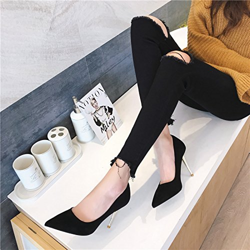 Leisure Heels High 9Cm A Elegant Suede Fashion Mouth Point Spring Work Shoes Shoes Fine MDRW Lady Metal Match Simple 38 With The All With Shallow Za7qtt
