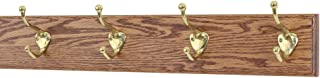 """product image for PegandRail Solid Oak Coat Rack with Solid Brass Hat and Coat Style Hooks - Made in The USA (Chestnut, 20"""" x 3.5"""" with 4 Hooks)"""