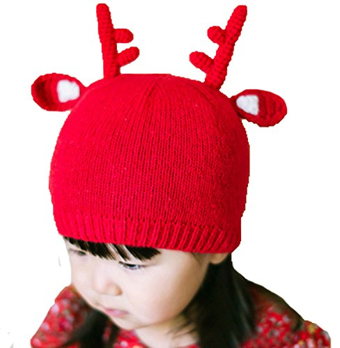 Kid's Girls and Boys Beanie Reindeer Photo Outfit Crochet Wool Toddler Baby Hat (Sexy Outfits Online)