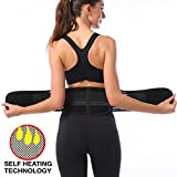 FOUMECH Back Brace Support Belt for Men and Women - Adjustable Lumbar Lower Back Support Massage Brace Self-heating Magnetic Therapy Belt - Helps Relieve Lower Back Pain And Stress (Black, Medium)