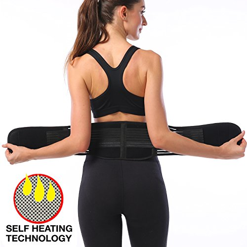 FOUMECH Back Brace Support Belt for Men and Women - Adjustable Lumbar Lower Back Support Massage Brace Self-heating Magnetic Therapy Belt - Helps Relieve Lower Back Pain And Stress (Black, X-Large)