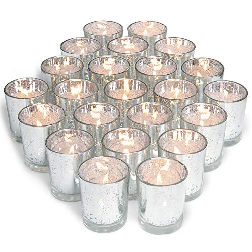 (Volens Silver Votive Candle Holders, Mercury Glass Tealight Candle Holder Set of 72)