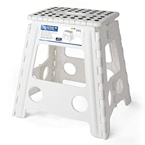 Acko 16 Inches Super Strong Folding Step Stool for Adults and Kids, White Kitchen Stepping Stools, Garden Step Stool